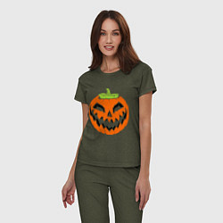 Пижама хлопковая женская Хэллоуин тыква цвета меланж-хаки — фото 2
