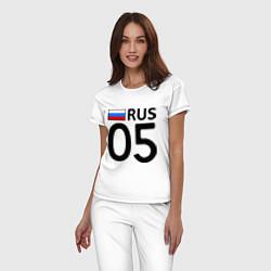 Пижама хлопковая женская RUS 05 цвета белый — фото 2
