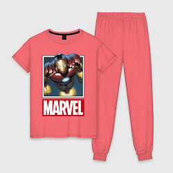 Пижама хлопковая женская Iron Man: Mark III цвета коралловый — фото 1