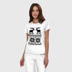 Пижама хлопковая женская Узор с оленями цвета белый — фото 2