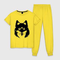 Пижама хлопковая женская Одинокий волк цвета желтый — фото 1