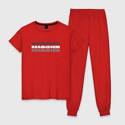 Пижама хлопковая женская Rammstein Shadows цвета красный — фото 1