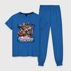 Пижама хлопковая женская Guardians of the Galaxy цвета синий — фото 1