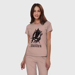 Пижама хлопковая женская The Hunger Games цвета пыльно-розовый — фото 2