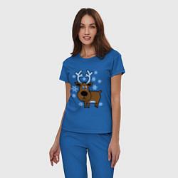 Пижама хлопковая женская Олень и снежинки цвета синий — фото 2