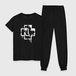 Пижама хлопковая женская Rammstein: White Logo цвета черный — фото 1