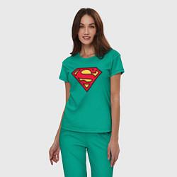 Пижама хлопковая женская Superman logo цвета зеленый — фото 2