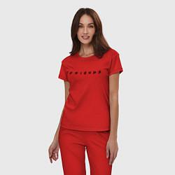 Пижама хлопковая женская Logo Friends цвета красный — фото 2