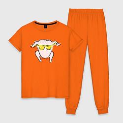 Пижама хлопковая женская I Love You цвета оранжевый — фото 1
