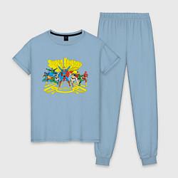 Пижама хлопковая женская Super Friends, Justice League цвета мягкое небо — фото 1
