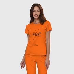 Пижама хлопковая женская Stray Kids цвета оранжевый — фото 2
