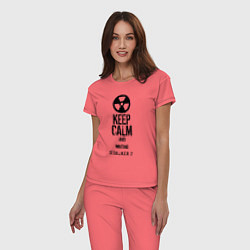 Пижама хлопковая женская STALKER 2 KEEP CALM цвета коралловый — фото 2
