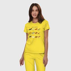 Пижама хлопковая женская HORSE BREEDING цвета желтый — фото 2