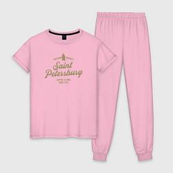 Пижама хлопковая женская Санкт-Петербург Gold Classic цвета светло-розовый — фото 1