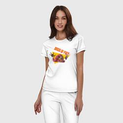 Пижама хлопковая женская Birds of Prey xx цвета белый — фото 2