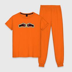 Пижама хлопковая женская Black mask club цвета оранжевый — фото 1