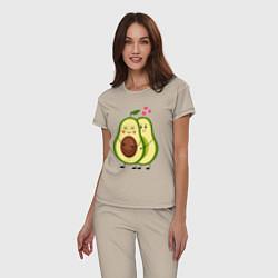 Пижама хлопковая женская Влюбленные Веганы Авокадо цвета миндальный — фото 2