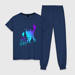 Пижама хлопковая женская Виктор Цой цвета тёмно-синий — фото 1
