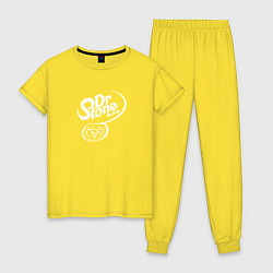 Пижама хлопковая женская Доктор Стоун цвета желтый — фото 1