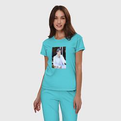 Пижама хлопковая женская BTS цвета бирюзовый — фото 2