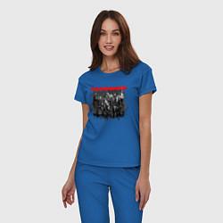 Пижама хлопковая женская RAMMSTEIN цвета синий — фото 2