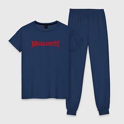 Пижама хлопковая женская Megadeth цвета тёмно-синий — фото 1