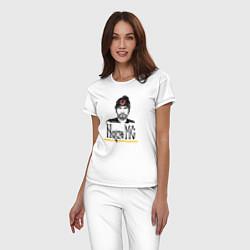 Пижама хлопковая женская Noize MC цвета белый — фото 2