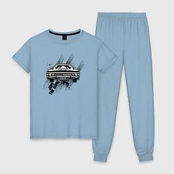 Пижама хлопковая женская Импала цвета мягкое небо — фото 1