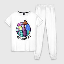 Пижама хлопковая женская Back in the Nineties цвета белый — фото 1