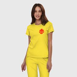 Пижама хлопковая женская OVERLORD цвета желтый — фото 2