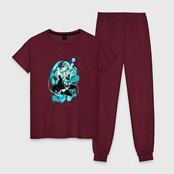 Пижама хлопковая женская Хацуне Мику цвета меланж-бордовый — фото 1