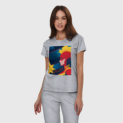 Пижама хлопковая женская Капитан Марвел Мстители цвета меланж — фото 2