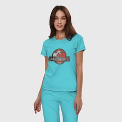 Пижама хлопковая женская Jurassic World цвета бирюзовый — фото 2
