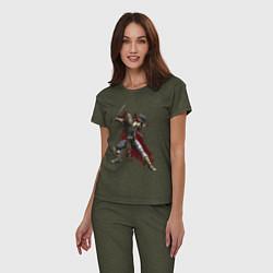 Пижама хлопковая женская Scorpion цвета меланж-хаки — фото 2