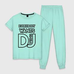 Пижама хлопковая женская Everybody Wants to be a Dj цвета мятный — фото 1