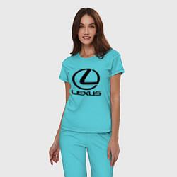 Пижама хлопковая женская LEXUS цвета бирюзовый — фото 2