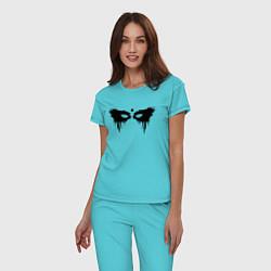 Пижама хлопковая женская Сотня цвета бирюзовый — фото 2