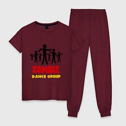 Пижама хлопковая женская Zombie dance group цвета меланж-бордовый — фото 1