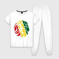 Пижама хлопковая женская Раста лев цвета белый — фото 1