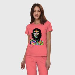 Пижама хлопковая женская Che цвета коралловый — фото 2