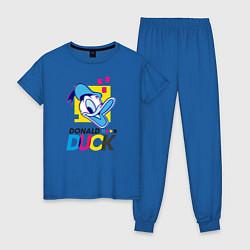 Пижама хлопковая женская Дональд Дак цвета синий — фото 1