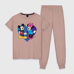 Пижама хлопковая женская Микки и Минни цвета пыльно-розовый — фото 1