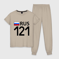 Пижама хлопковая женская RUS 121 цвета миндальный — фото 1