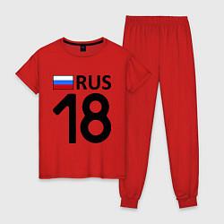 Пижама хлопковая женская RUS 18 цвета красный — фото 1