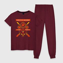 Пижама хлопковая женская Gryffindor Quidditch цвета меланж-бордовый — фото 1