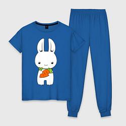 Пижама хлопковая женская Зайчик с морковкой цвета синий — фото 1