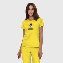 Пижама хлопковая женская Show Some Respect! цвета желтый — фото 2