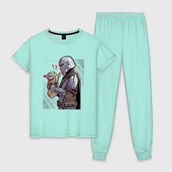 Пижама хлопковая женская Мандалорец и Дитя цвета мятный — фото 1