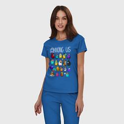 Пижама хлопковая женская AMONG US цвета синий — фото 2