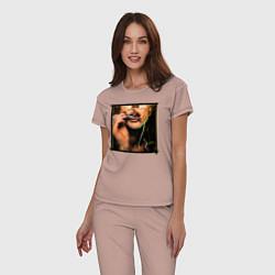 Пижама хлопковая женская Макс Барских цвета пыльно-розовый — фото 2